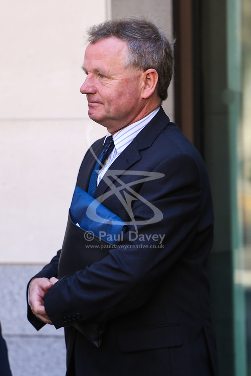 Andy Hill, 54, of Sandon, Hertfordshire, the pilot of the Hawker Hunter which crashed at the Shoreham Airshow in 2015 leaves Westminster Magistrates Court in London after indicating he will plead not guilty to killing 11 men when his aircraft hit the A27 in Sussex after performing an aerobatics display. London, February 10 2018.