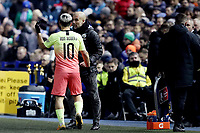 Football - 2019 / 2020 Emirates FA Cup - Fifth Round: Sheffield Wednesday vs. Manchester City<br /> <br /> Manchester City manager Josep Guardiola with Sergio Aguero after he has been substituted, at Hillsborough<br /> <br /> COLORSPORT/PAUL GREENWOOD