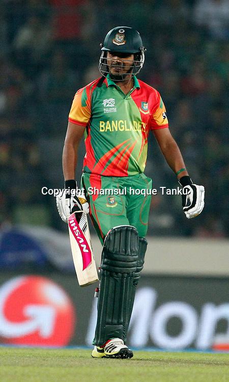 Shamsur Rahman out - Bangladesh v India - ICC World Twenty20, Bangladesh 2014. 29 March 2014, Sher-e-Bangla National Cricket Stadium, Mirpur. Photo: Shamsul hoque Tanku/www.photosport.co.nz