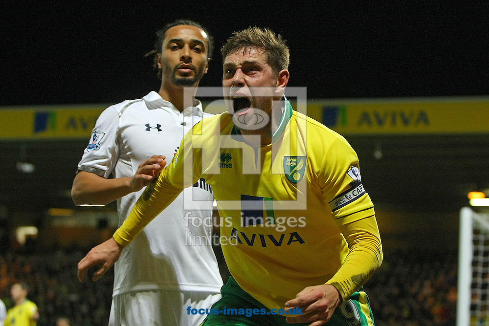 Picture by Paul Chesterton/Focus Images Ltd +44 7904 640267.30/01/2013.Grant Holt of Norwich shows his anger after he felt he was fouled by Benoit Assou-Ekotto of Spurs during the Barclays Premier League match at Carrow Road, Norwich.