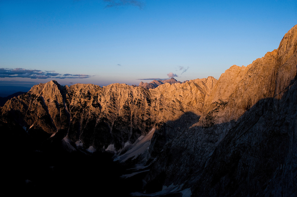 Mountain range, Julian Alps, view from Mount Mangart<br /> Triglav National Park, Slovenia<br /> July 2009