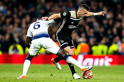 Dusan Tadic of Ajax takes on Davinson Sanchez of Tottenham Hotspur - Mandatory by-line: Robbie Stephenson/JMP - 30/04/2019 - FOOTBALL - Tottenham Hotspur Stadium - London, England - Tottenham Hotspur v Ajax - UEFA Champions League Semi-Final 1st Leg