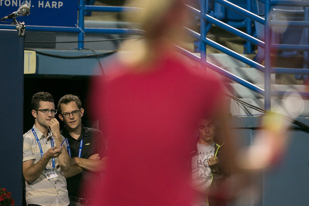 August 22, 2014, New Haven, CT:<br /> Nick McCarvel and Matt Van Tuinen chat during the semi-final match between Samantha Stosur and Petra Kvitova on day eight of the 2014 Connecticut Open at the Yale University Tennis Center in New Haven, Connecticut Friday, August 22, 2014.<br /> (Photo by Billie Weiss/Connecticut Open)
