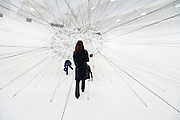 artwork display in the Tanya Bonakdar Gallery sculpture installation by Tomas Saraceno