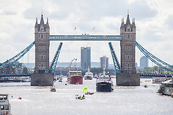 © Licensed to London News Pictures. 15/06/2016. London, UK. Activists with an 'IN' flag circle a flotilla of fishing trawlers, joined by UKIP leader Nigel Farage, as they sail up the River Thames to Westminster. The flotilla is organised by the 'Fishing for Leave' campaign, founded by Scottish fisherman, which argues that the UK's fishing industry would be better off outside the EU, but with the same status as Iceland or Norway when fishing quotas are negotiated. Photo credit: Rob Pinney/LNP