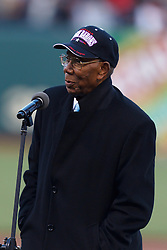 May 6, 2011; San Francisco, CA, USA;  Former negro league player Bill Greason addresses the crowd as part of the 80th birthday celebration for WIllie Mays (not pictured) before the game between the San Francisco Giants and the Colorado Rockies at AT&T Park.  San Francisco defeated Colorado 4-3.