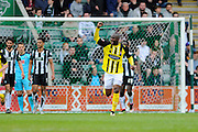 Dagenham & Redbridge's Clevid Dikamona celebrates the third goal after the visitors take a 3-0 lead during the Sky Bet League 2 match between Plymouth Argyle and Dagenham and Redbridge at Home Park, Plymouth, England on 23 April 2016. Photo by Graham Hunt.