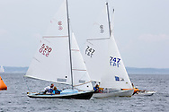 _V0A8093. ©2014 Chip Riegel / www.chipriegel.com. The 2014 Bullseye Class National Regatta, Fishers Island, NY, USA, 07/19/2014. The Bullseye is a Nathaniel Herreshoff designed 15' Marconi rig sailing boat.