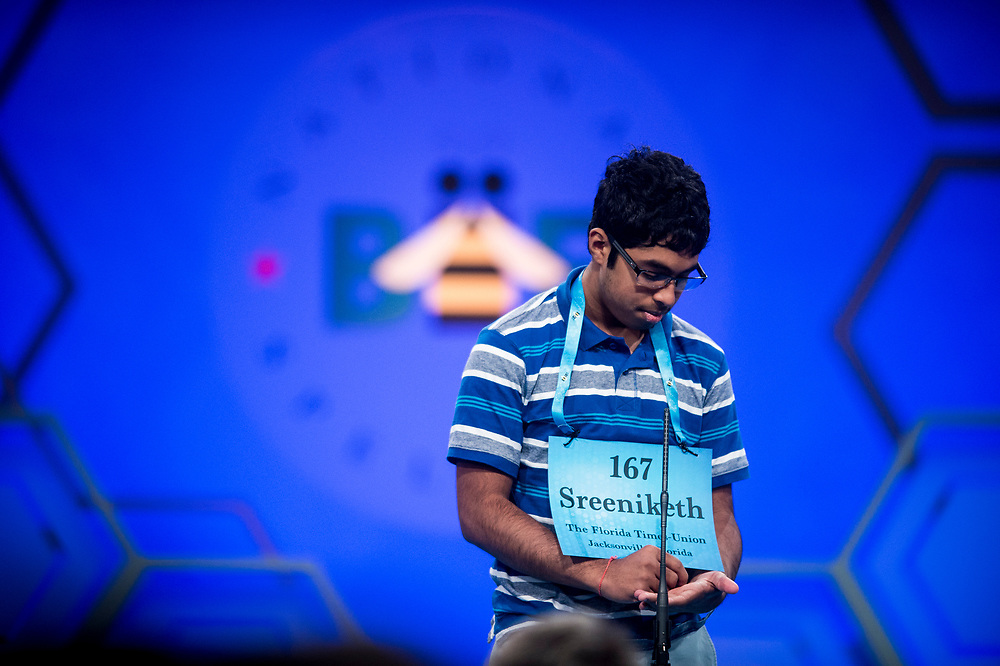 Sreeniketh Vogoti, 14, from Saint Johns, Fla., participates in the finals of the 2017 Scripps National Spelling Bee on Thursday, June 1, 2017 at the Gaylord National Resort and Convention Center at National Harbor in Oxon Hill, Md.      Photo by Pete Marovich/UPI