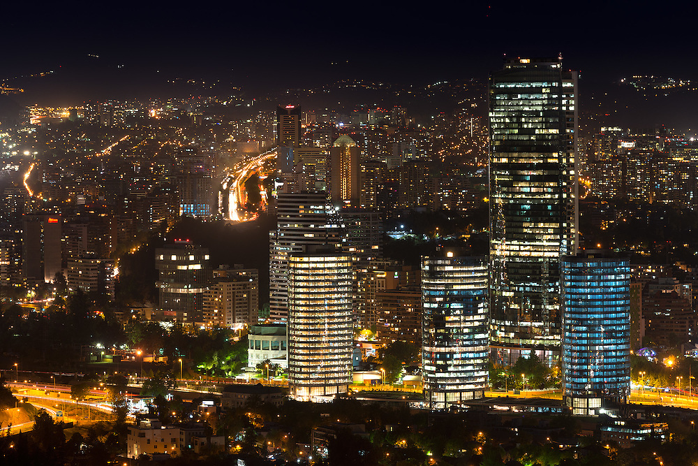 Panoramic view of Santiago de Chile with Titanium Tower skyscraper <br /> <br /> For LICENSING and DOWNLOADING this image follow this link: http://www.masterfile.com/em/search/?keyword=600-07784447&amp;affiliate_id=01242CH84GH28J12OOY4<br /> <br /> For BUYING A PRINT of this image press the ADD TO CART button.<br /> <br /> Download of this image is not available at this site, please follow the link above.