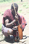 Africa, Tanzania, Lake Eyasi, Maasai man preparing blood milk with blood drawn from a cow. an ethnic group of semi-nomadic people February 2006