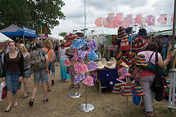 Hats for sale at the WOMAD (World of Music; Arts and Dance) Festival in reading; 2005,