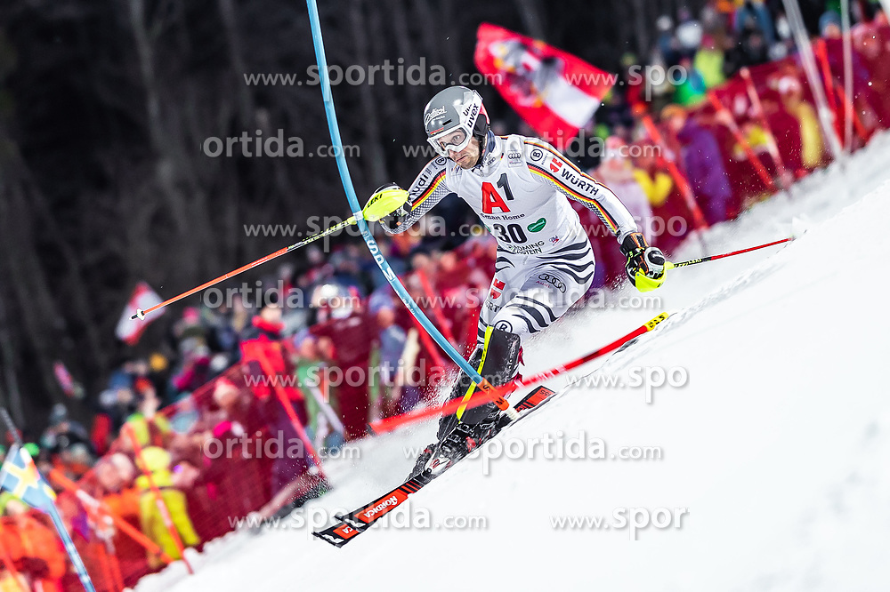 """29.01.2019, Planai, Schladming, AUT, FIS Weltcup Ski Alpin, Slalom, Herren, 1. Lauf, im Bild Dominik Stehle (GER) // Dominik Stehle of Germany in action during his 1st run of men's Slalom """"the Nightrace"""" of FIS ski alpine world cup at the Planai in Schladming, Austria on 2019/01/29. EXPA Pictures © 2019, PhotoCredit: EXPA/ JFK"""