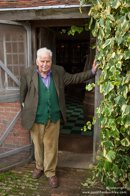 Christopher Lloyd outside the kitchen at Great Dixter