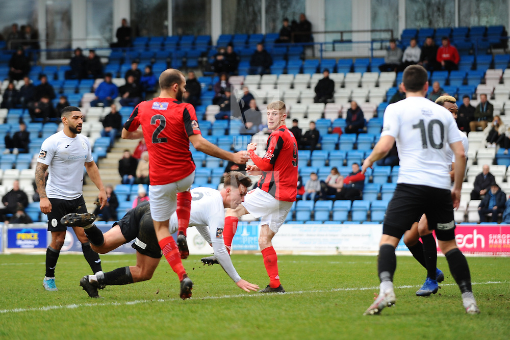TELFORD COPYRIGHT MIKE SHERIDAN GOAL. Ryan Sears of Telford (on loan from Shrewsbury Town) scores to make it 1-0  during the Vanarama Conference North fixture between AFC Telford United and Kettering at The New Bucks Head on Saturday, March 14, 2020.<br /> <br /> Picture credit: Mike Sheridan/Ultrapress<br /> <br /> MS201920-050