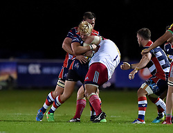 Charlie Amesbury of Bristol United tackles Mark Lambert of Harlequins A  - Mandatory by-line: Joe Meredith/JMP - 12/09/2016 - RUGBY - Clifton RFC - Bristol, England - Bristol United v Harlequins A - Aviva A League