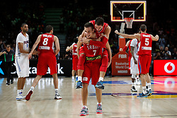 12.09.2014, City Arena, Madrid, ESP, FIBA WM, Frankreich vs Serbien, Halbfinale, im Bild Serbia´s Bogdanovic and Jovic celebrate // during FIBA Basketball World Cup Spain 2014 semifinal match between France and Serbia at the City Arena in Madrid, Spain on 2014/09/12. EXPA Pictures © 2014, PhotoCredit: EXPA/ Alterphotos/ Victor Blanco<br /> <br /> *****ATTENTION - OUT of ESP, SUI*****