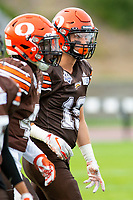 KELOWNA, BC - AUGUST 17:  Cole STREGGER #19 of Okanagan Sun walks on the field against the Westshore Rebels  at the Apple Bowl on August 17, 2019 in Kelowna, Canada. (Photo by Marissa Baecker/Shoot the Breeze)