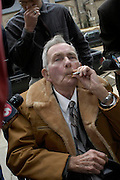 Ernest Avants enjoys a cigarette ouside the Federal court house in Jackson,MS Friday February 28,2003.  after jury has been instructed on how to come to a verdictto Ernest Avants is accused of murdering sharecropper Ben Chester White in 1966 on federal land. (photo/Suzi Altman)