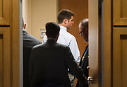 Former UW-Madison student Alec Cook is led from the courtroom following his three year prison sentence in Madison, Wisconsin, Thursday, June 21, 2018.