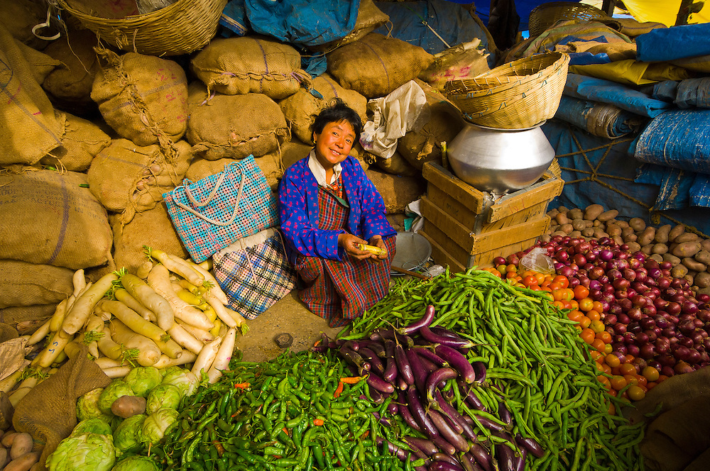 Woman with vegetables, Thimphu Sunday Market, Bhutan