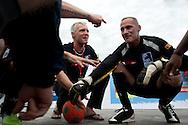 Natinal Trainer Stefan Huhn und national speler Steven bei der Besprechung9 vor der erste spiel gegen New Zeland. Rio de Janeiro Brazil. 19.09.2010