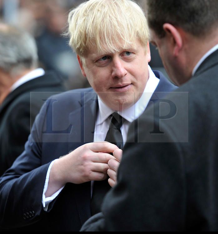 © Licensed to London News Pictures. 17 April 2013. St Paul's Cathedral London. London Mayor Boris Johnson. Funeral of Baroness Thatcher, former Conservative Prime Minister. Photo credit : MarkHemsworth/LNP