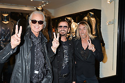 Left to right, JIMMY PAGE, RINGO STARR and IGGY POP at a party to celebrate the launch of the first European John Varvatos Store, 12-13 Conduit Street, London held on 3rd September 2014.