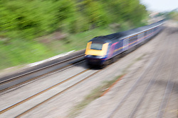 First Great Western passenger train travelling between GoringonThames and Reading,
