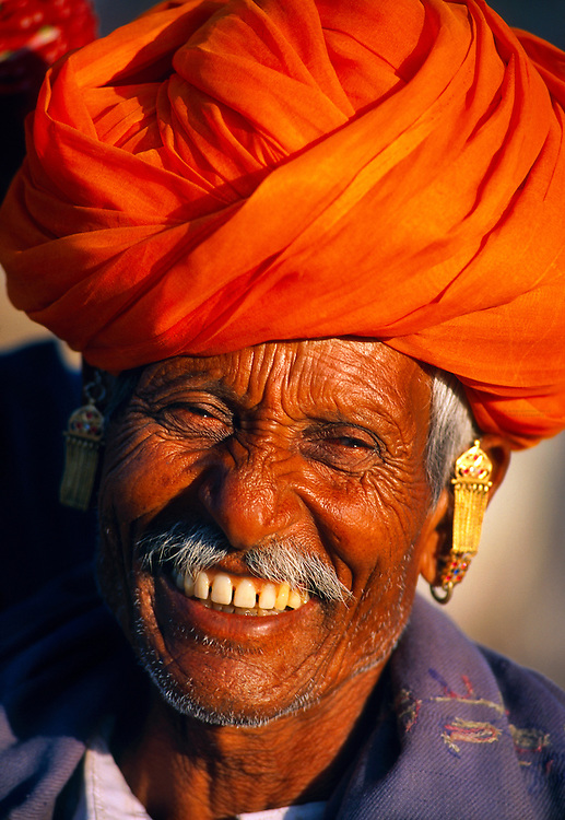 Rajasthani man at the Pushkar Fair, Pushkar, Rajasthan, India