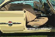 1960 Chrysler 300-F Muscle car, line Art Photograph, Digital oil painted texture,  Beautiful, Unique