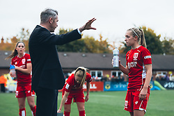 Bristol City Women Manager Willie Kirk instructs Flo Allen of Bristol City Women - Rogan Thomson/JMP - 06/11/2016 - FOOTBALL - The Northcourt Stadium - Abingdon-on-Thames, England - Oxford United Women v Bristol City Women - FA Women's Super League 2.