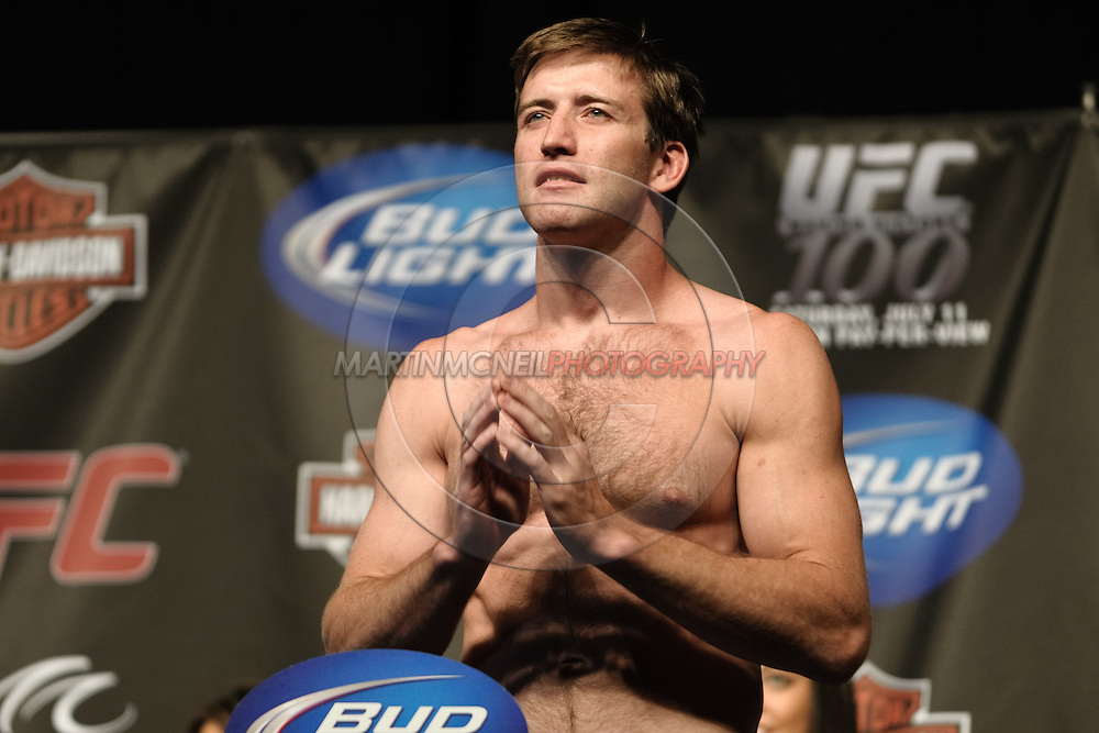 LAS VEGAS, NEVADA, JULY 10, 2009: Stephan Bonnar poses on the scales during the weigh-in for UFC 100 inside the Mandalay Bay Events Center in Las Vegas, Nevada