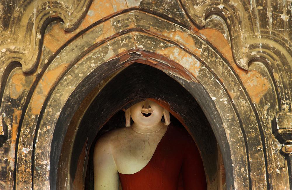 Buddha statue recessed in to Pagoda. Bagan, Myanmar
