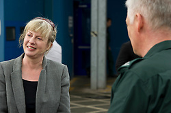 Pictured: Shona Robison<br /> <br /> Health Secretary Shona Robison met paramedics today on a visit to Scottish Ambulance Service's city station where she announced new funding for the service<br /> Ger Harley | EEm 24 April 2017
