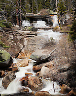 Snow Creek cascades under and over large slabs of granite, Yosemite National Park