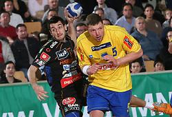 Dragan Gajic of Celje PL  and Rok Praznik of Cimos Koper at handball game RK Cimos Koper vs RK Celje Pivovarna Lasko in 19th round of Slovenian handball championship, on February 20, 2008 in Koper - Capodistria, Slovenia. Result: equal 26:26. (Photo by Vid Ponikvar / Sportal Images)