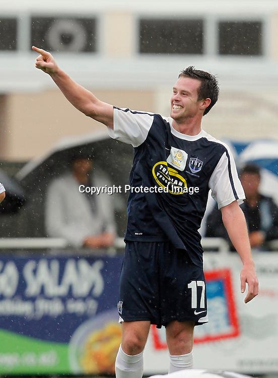 Auckland's Adam McGeorge celebrates his goal. ASB Premiership, Auckland City FC v Hawkes Bay United, Kiwitea Street Auckland, Saturday 18th December 2010. Photo: Shane Wenzlick