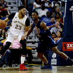 Dec 26, 2016; New Orleans, LA, USA;  New Orleans Pelicans forward Anthony Davis (23) is defended by Dallas Mavericks forward Harrison Barnes (40) during the second quarter of a game at the Smoothie King Center. Mandatory Credit: Derick E. Hingle-USA TODAY Sports