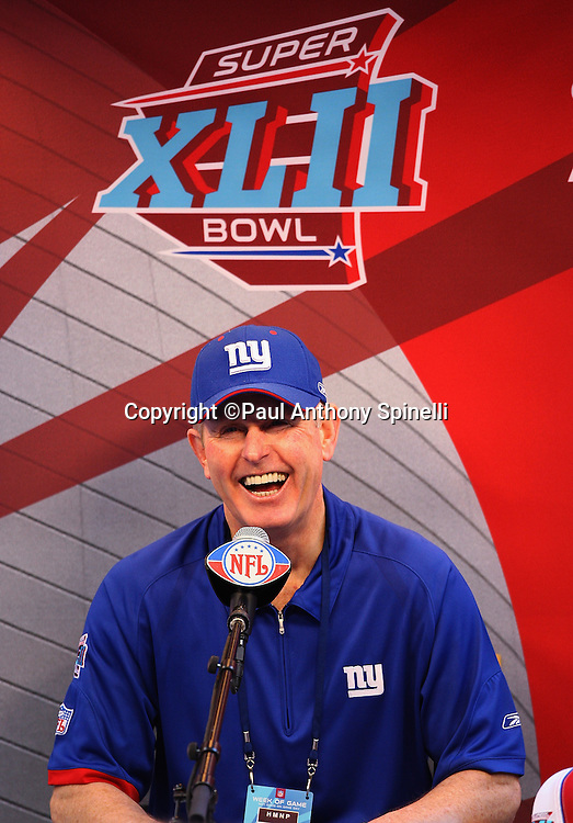 GLENDALE, AZ - JANUARY 29: Head Coach Tom Coughlin of the New York Giants has a hearty laugh as he speaks to the media at the Giants Super Bowl XLII Media Day at University of Phoenix Stadium on January 29, 2008 in Glendale, Arizona.©Paul Anthony Spinelli *** Local Caption *** Tom Coughlin