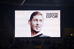 January 30, 2019 - Nantes, France - Illustration - Hommage a Emiliano Sala  (Credit Image: © Panoramic via ZUMA Press)