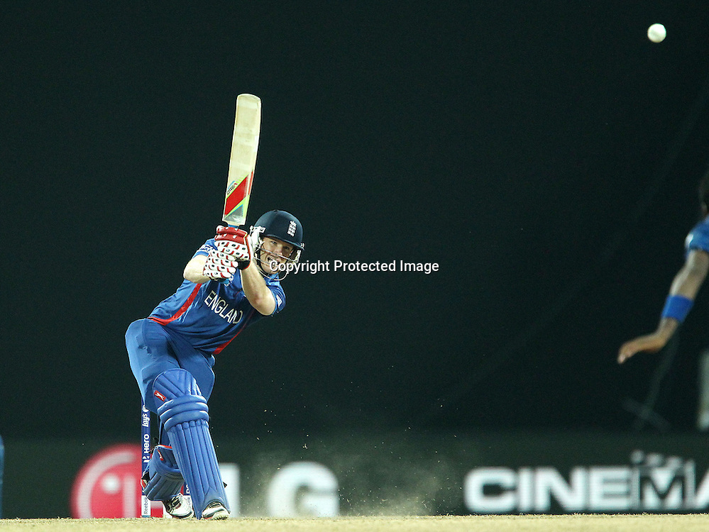 Eoin Morgan of England hits over the top for four during the ICC World Twenty20 Super Eights match between England and Sri Lanka held at the  Pallekele Stadium in Kandy, Sri Lanka on the 1st October 2012<br /> <br /> Photo by Ron Gaunt/SPORTZPICS