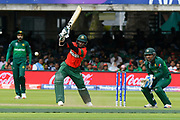 Shakib Al Hasan (vc) of Bangladesh plays an attacking shot during the ICC Cricket World Cup 2019 match between Pakistan and Bangladesh at Lord's Cricket Ground, St John's Wood, United Kingdom on 5 July 2019.