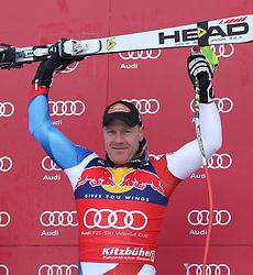 KITZBUHEL AUSTRIA. 22-01-2011. Didier Cuche (SUI) winner of the race at the presentation ceremony for the 71st Hahnenkamm downhill race part of  Audi FIS World Cup races in Kitzbuhel Austria.  Mandatory credit: Mitchell Gunn