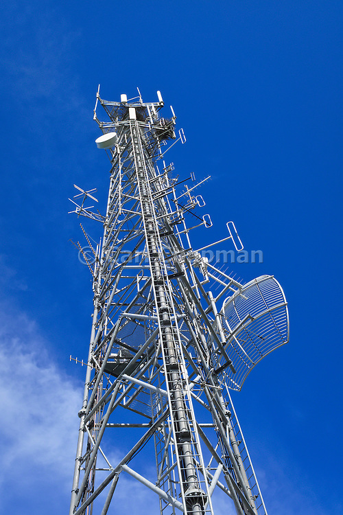 GSM and CDMA cellsite and communications antenna array for the cellular telephone system on a tower .