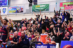 Bristol flyers fans celebrate. - Photo mandatory by-line: Alex James/JMP - 15/12/2018 - BASKETBALL - SGS Wise Arena - Bristol, England - Bristol Flyers v Manchester Giants - British Basketball League Championship
