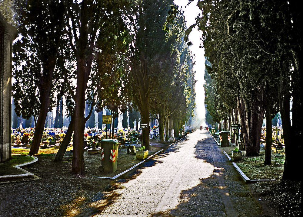 Cemetery of San Michele, Venice, view along the path toward the gondola gate.  Late afternoon, strong sunlight pouring down between the cypress trees.  A single figure in a red coat vanishes in the distance.  Graves on either side of the path, some with flowers.