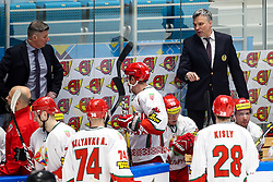 Andrei Sidorenko, head coach of Belarus (right) during ice hockey match between Lithuania and Belarus at IIHF World Championship DIV. I Group A Kazakhstan 2019, on April 29, 2019 in Barys Arena, Nur-Sultan, Kazakhstan. Photo by Matic Klansek Velej / Sportida