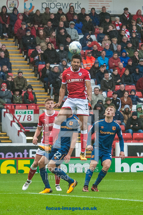 Ezekiel Fryers of Barnsley with a defensive header during the Sky Bet Championship match at Oakwell, Barnsley<br /> Picture by Matt Wilkinson/Focus Images Ltd 07814 960751<br /> 21/10/2017