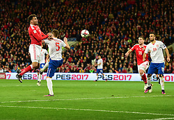 Hal Robson-Kanu of Wales misses a chance with a header. - Mandatory by-line: Alex James/JMP - 12/11/2016 - FOOTBALL - Cardiff City Stadium - Cardiff, United Kingdom - Wales v Serbia - FIFA European World Cup Qualifiers